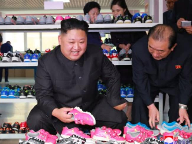 A Korean Central News Agency image released today showing Kim Jong-un inspecting a North Korean shoe factory.