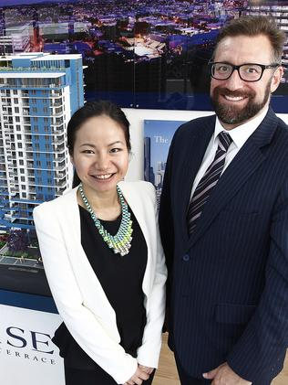 Acuity's Michael Wilkins with senior Asian business analyst Eve Tan at the Belise display apartments.