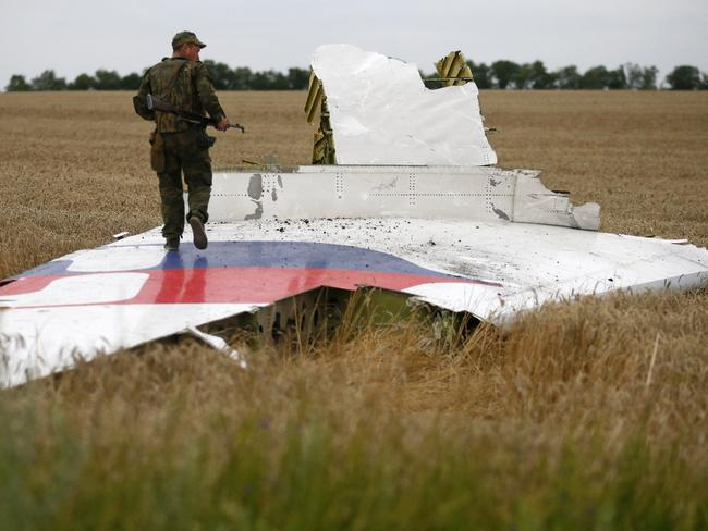 An armed pro-Russian separatist stands on part of the wreckage of the Malaysia Airlines plane.
