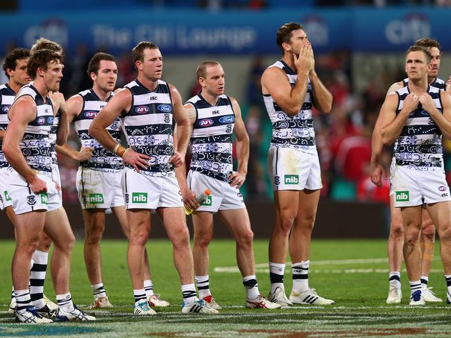 Thoroughly beaten: Geelong look dejected after the round 11 AFL match defeat at the hands of the Sydney Swans. Photo by Ryan Pierse/Getty Images