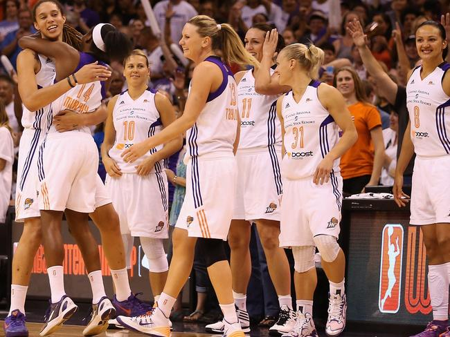 The Mercury girls celebrate their win. Aussie Erin Phillips is second from the right.