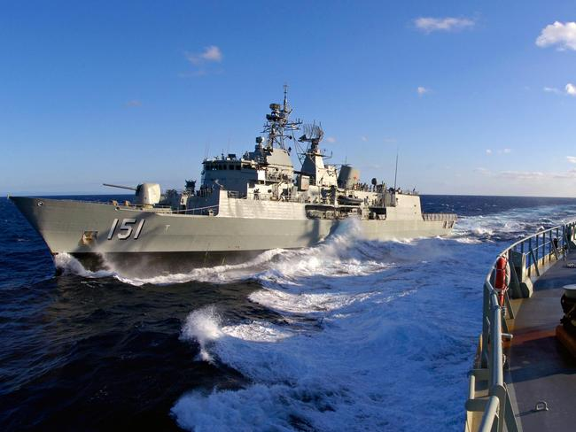 Has a flight deck for helicopters ... Replenish ship HMAS Sirius is the third Royal Australian Navy vessel heading to intercept the Russia flotilla. Picture: Supplied