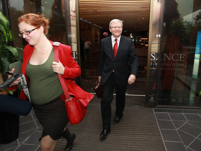 The Former Foreign Affairs Minister Kevin Rudd departs his Canberra hotel for the short drive to Parliament House. Picture: Gary Ramage