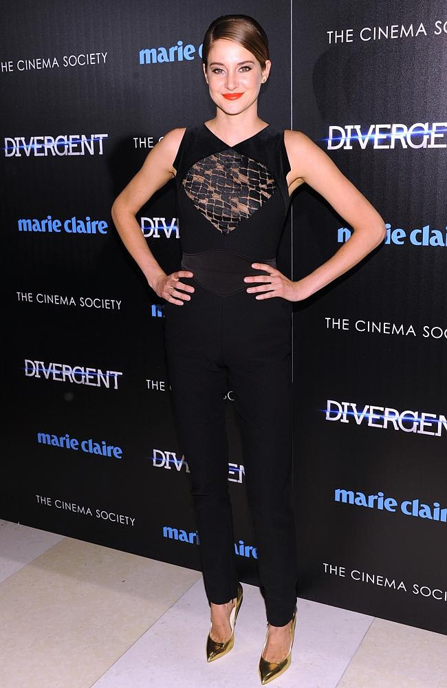 Actor Shailene Woodley attends the Marie Claire & The Cinema Society screening of Divergent.