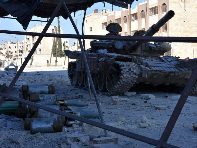 A Russian-built tank amid the rubble of the Syrian civil war. Two units of Russian mercenaries have reportedly been destroyed. Picture: AFP