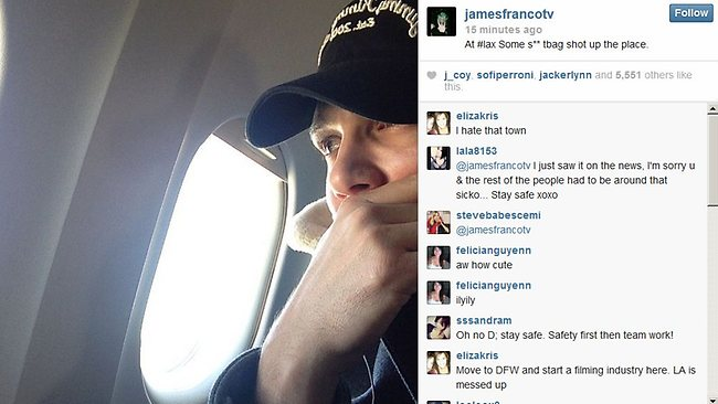 James Franco was on his flight at LAX when the shooting happened and tweeted this image from the tarmac.