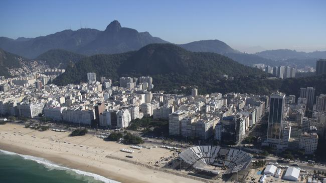 The Olympic beach volleyball venue will take place on a less than ideal beach in terms of hygiene. Picture: Felipe Dana/AP