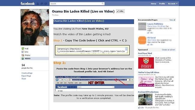Osama bin Laden scam on Facebook