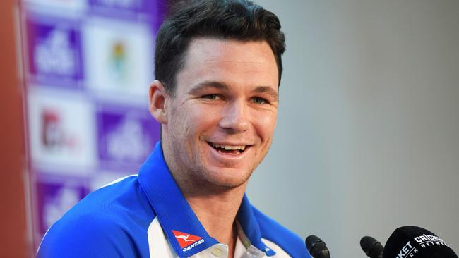 Australia cricketer Peter Handscomb speaks during in a press conference prior a training session at the Sher-e-Bangla National Cricket Stadium in Dhaka on August 20, 2017. Australia's cricket team arrived in Dhaka on August 18 under tight security for their first Test tour of Bangladesh in more than a decade, officials said. / AFP PHOTO / Bangladesh Coast Guard handout / Munir UZ ZAMAN