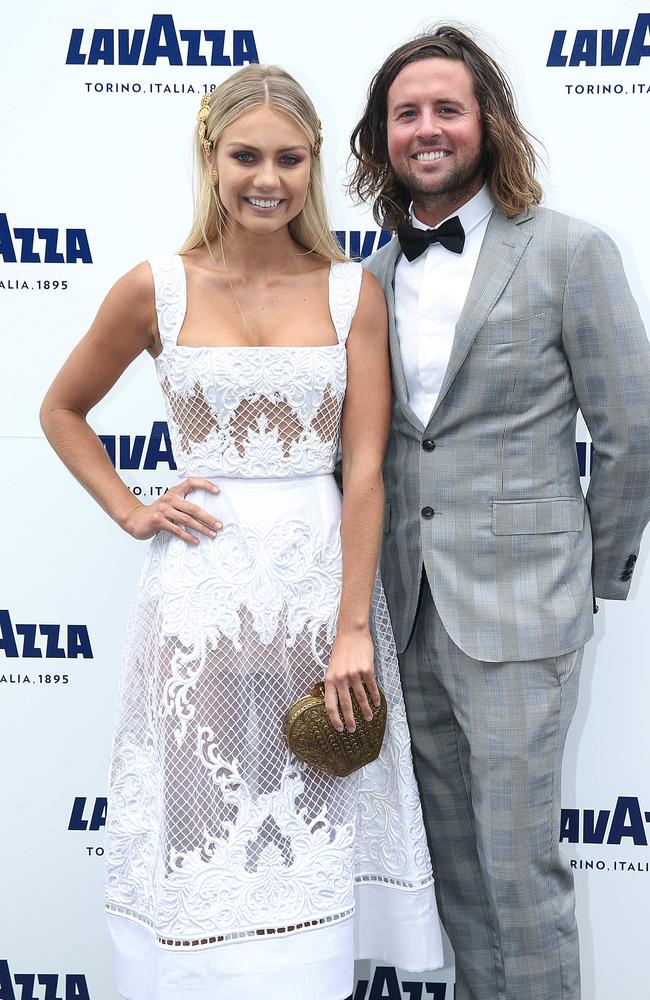 Elyse Knowles and Josh Barker pictured on Derby Day in The Birdcage at Flemington Racecourse during Melbourne Racing Spring Carnival. Picture: Ian Currie