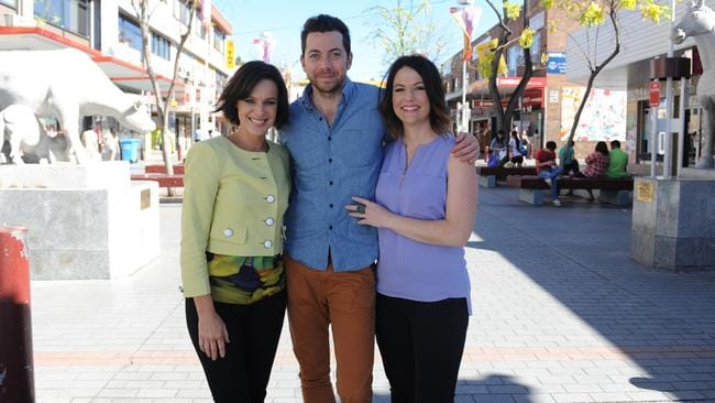 (L-R) Natarsha Belling (lime jacket), James Mathison and Natasha Exelby — the original Wake Up hosts, before Exelby left the program just 16 days in.