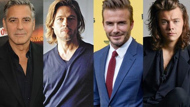 Aussie men want to look like (from left) US actors George Clooney and Brad Pitt, British footballer David Beckham and British singer Harry Styles from One Direction.