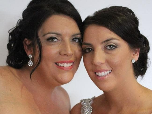 Jessica (l) and her sister Gemma (r) on her wedding day. Both sisters have hypertrophic obstructive cardiomyopathy.