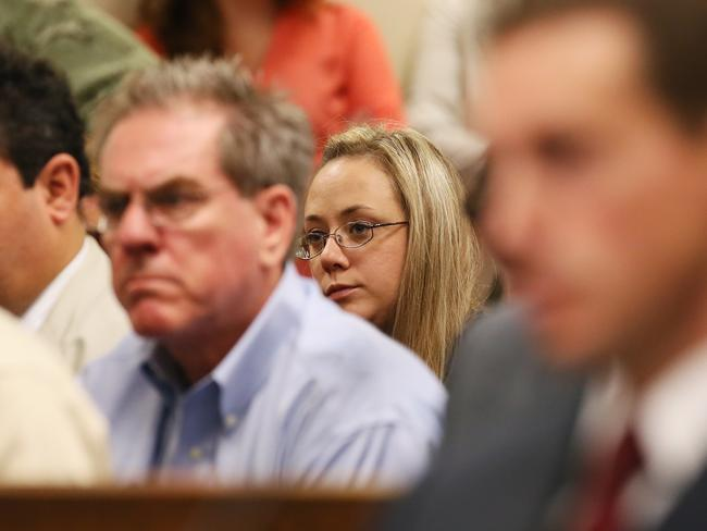 """I'm doing this for you"" ... Leanna Harris looks on during her husband's bond hearing in Cobb County Magistrate Court. Pic: Marietta Daily Journal, Kelly J. Huff"