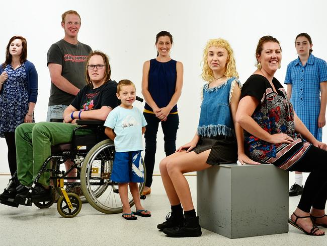All with rare diseases with life-extending drugs available that the Government won't fund ... (from left) Savannah Stevens, Matthew Lloyd, Tim Lloyd, Ashley Grey, Catherine Jenner, Isabelle Ruiz, Tarryn Holland, Ellie Haikalis.