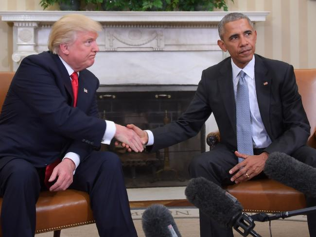 US President Barack Obama (right) has 80.6 million Twitter followers, compared with Donald Trump's 20 million. Picture: AFP/Jim Watson