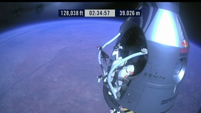 A screen grab from the live YouTube feed of Felix Baumgartner's jump from space.
