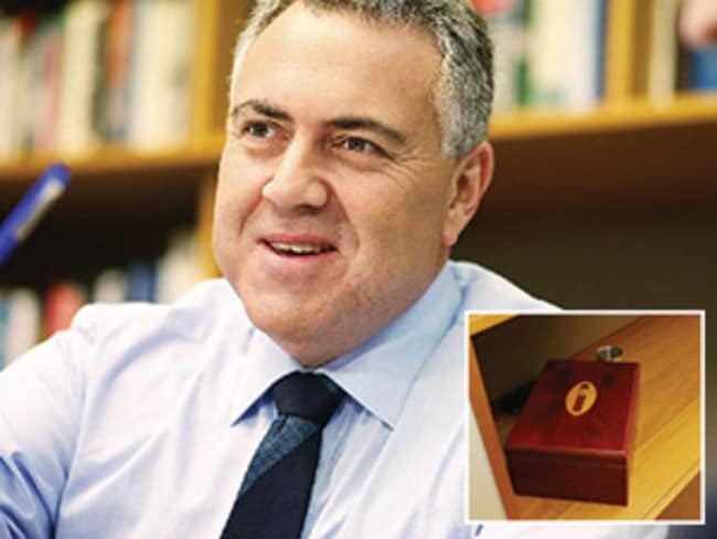 Treasurer Joe Hockey, and inset, a cigar box seen in his office. Picture: Getty Images/Gary Ramage