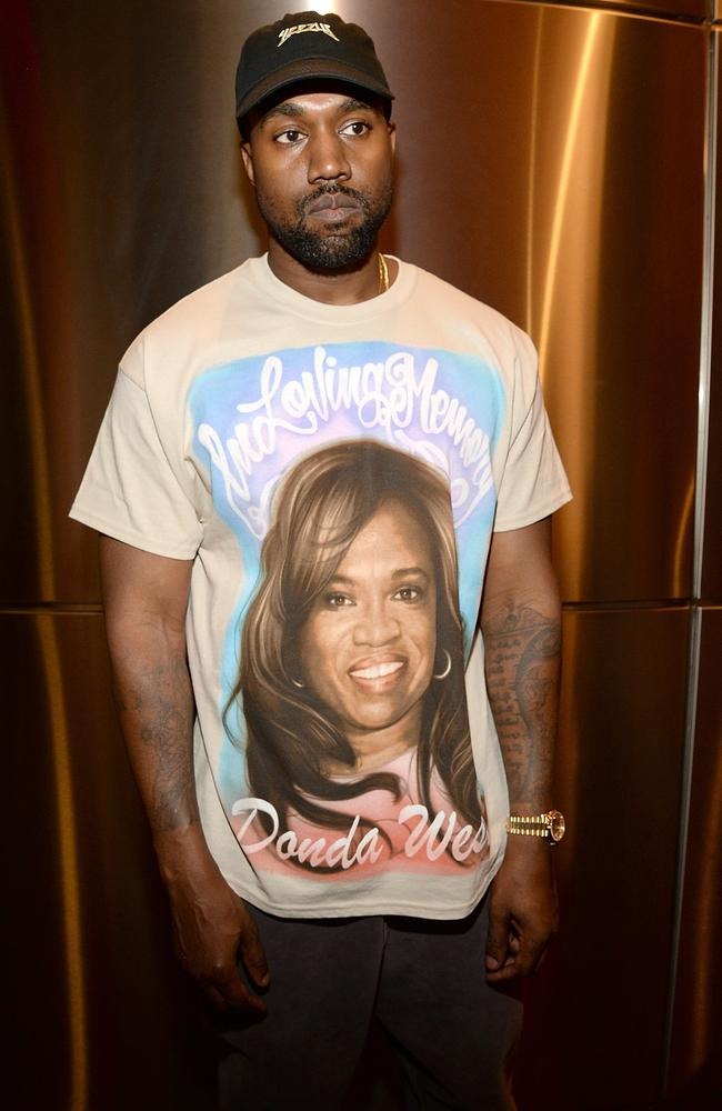 'In loving memory'. Kanye West paid tribute to his late mother Donda and Kim's late father, Robert. Picture: Kevin Mazur/Getty Images for Yeezy Season 3