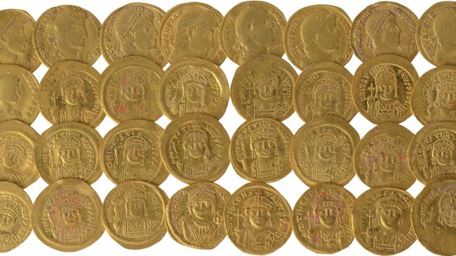 The gold coins date from the fourth century through to the seventh century AD.