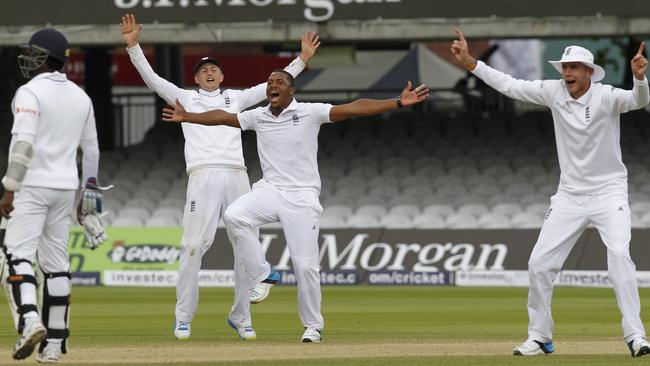 England's Chris Jordan (2nd R) appeals successfully for the wicket of Sri Lanka's Prasanna Jayawardene (not pictured) for eight runs.