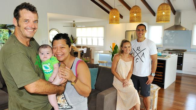 Proud new owners Michael and Helen Fenton with their son Ethan. The couple brought Maddi and Lloyd Wright's House Rules home for $520,000. Picture: Shae Beplate.
