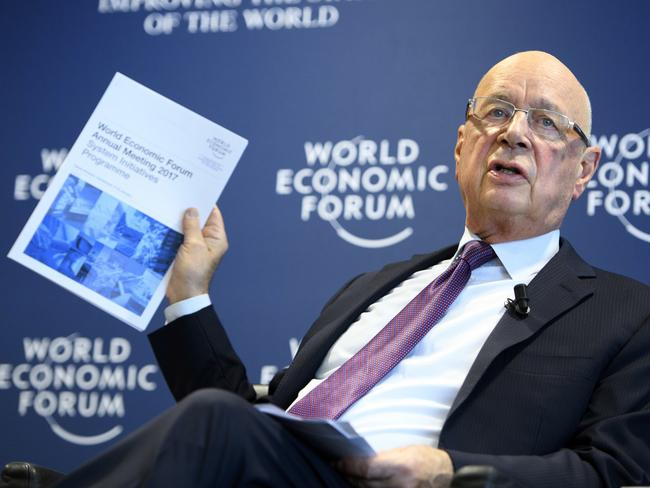 German Klaus Schwab, founder and president of the World Economic Forum, unveils the program for its annual meeting in Davos, Switzerland. Picture: Laurent Gillieron/Keystone via AP.