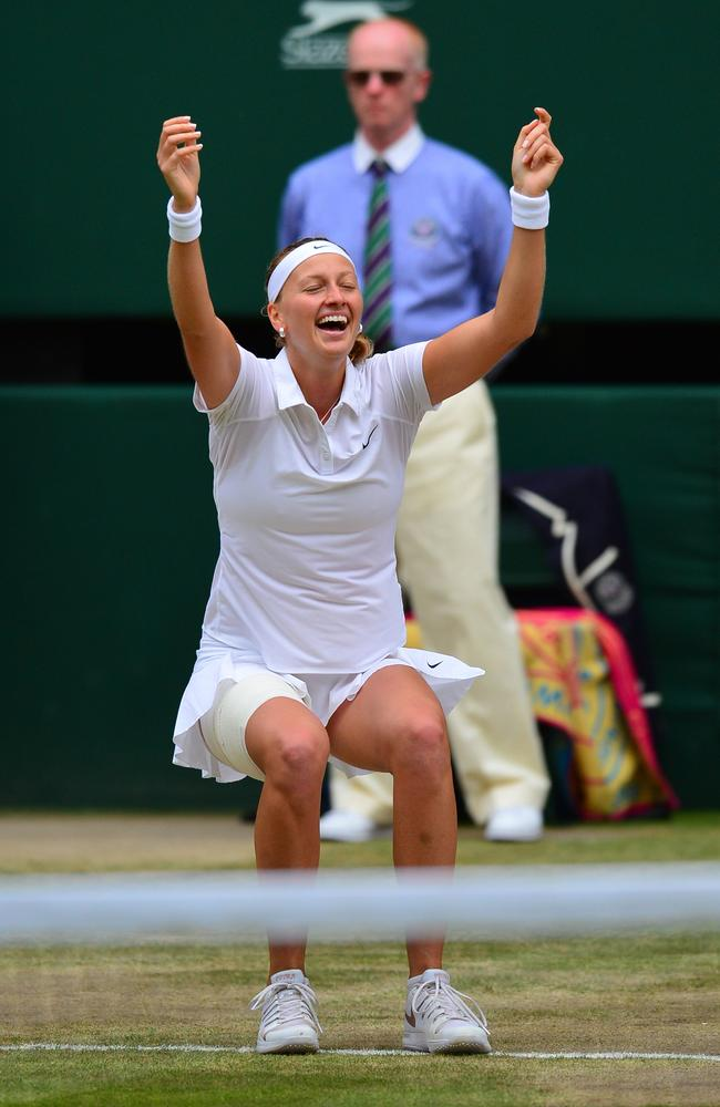 Czech Republic's Petra Kvitova celebrates after winning her second Wimbledon crown.