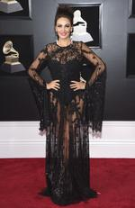 Bleona Qereti arrives at the 60th annual Grammy Awards at Madison Square Garden on Sunday, Jan. 28, 2018, in New York. Picture: Evan Agostini/Invision/AP