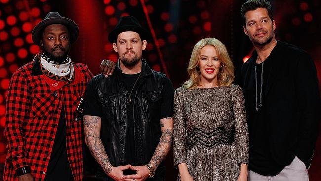 All star cast ... will.i.am, Joel Madden, Kylie Minogue and Ricky Martin couldn't stop The Voice from slipping in the ratings.