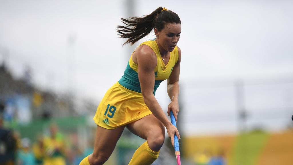 Australia's Georgie Parker in action for the Hockeyroos ... not the Kookaburras.