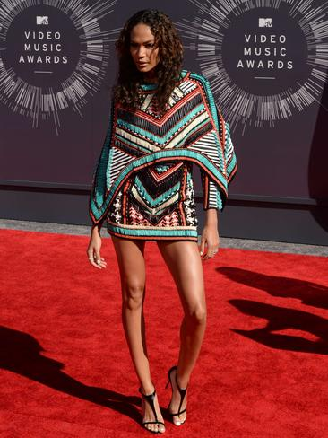 Model Joan Smalls arrives on the red carpet at the MTV Video Music Awards, August 24, 2014 at The Forum in Inglewood, California. Picture: AFP