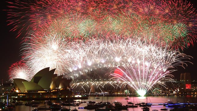 Midnight fireworks celebration on New Year's Eve as seen from Mrs Macquarie's Chair in Sydney. Picture: Adam Ward