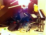 Grant Hackett's trashed apartment. NOT FOR INTERNET UNTIL MIDNIGHT.