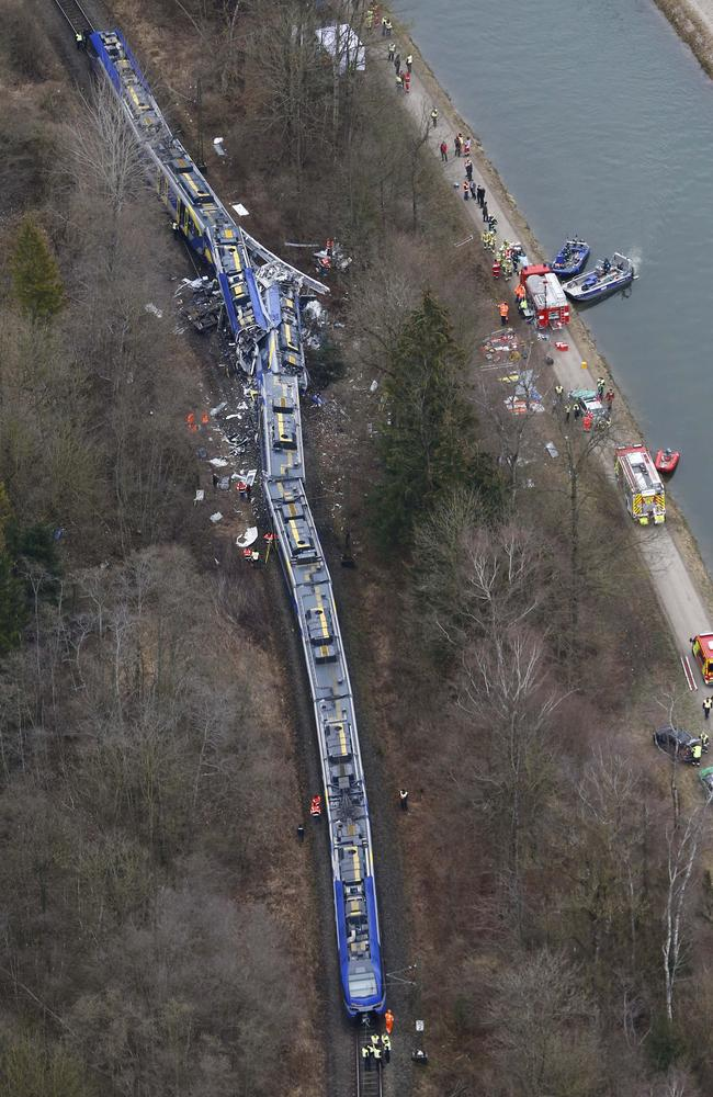 Horrific ... two trains collided head-on near Bad Aibling, Germany. Picture: AP Photo/Matthias Schrader