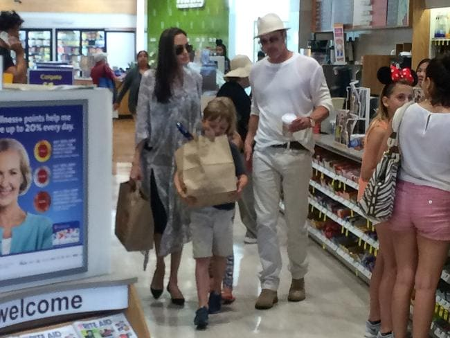 This is the last picture taken of Angelina Jolie and Brad Pitt out in public together after they stopped by their local pharmacy with Vivienne and Konx on their Birthday. Picture: Xposure/BackGrid