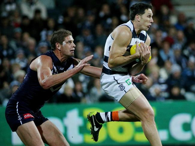 Harry Taylor was the best man on the ground in the Geelong-Fremantle clash. Picture: Colleen Petch