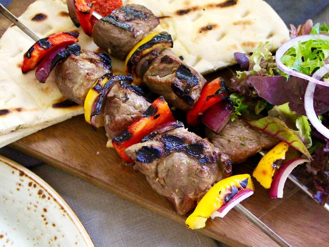 The marinated meat skewers at The Phoenix. Picture: Polly Lowers