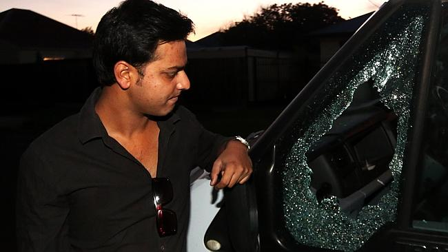 Sahil Kumar's van had a window smashed. Picture: Hamish Blair