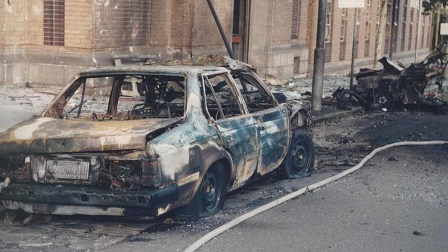 The aftermath of the Russell St bombing in 1986.