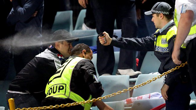 Sydney United FC fan gets pepper sprayed. Picture: Gregg Porteous