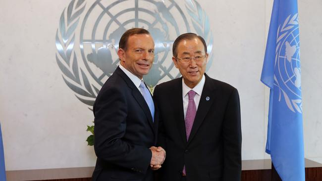 Uniting issues... Mr Abbott meets with UN General Secretary Ban Ki-moon. Photo: Josh Wilson / Office of The Prime Minister.