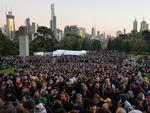 Crowds at the Anzac Day dawn service at the shrine of remembrance Melbourne. Picture: Nicole Garmston