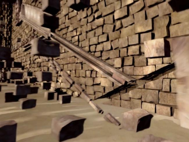 A chute which, when activated, slid three huge granite blocks into an entrance passage. Picture: Science Channel