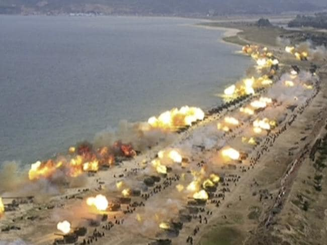 """The April exercises in Wonsan were said to be North Korea's """"largest ever"""" military demonstration. Picture: KRT/AP"""
