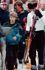 Seen here with Prince Harry on a skiing trip back in 1996. Picture: Rex/australscope
