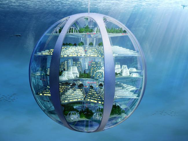 Underwater cities could hang suspended below the ocean's surface.