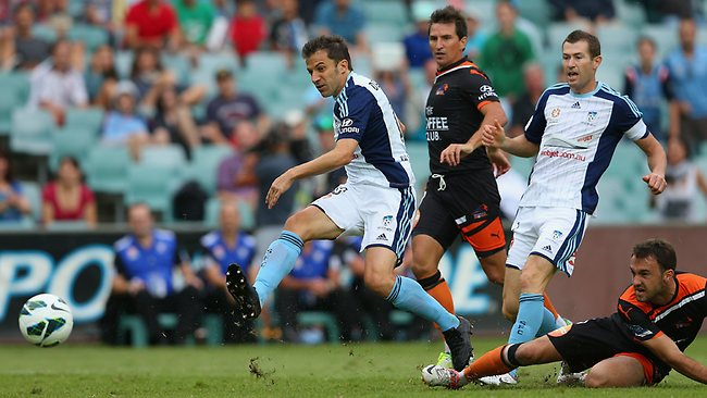 Alessandro del Pier scores against the Brisbane Roar in the opening half today.