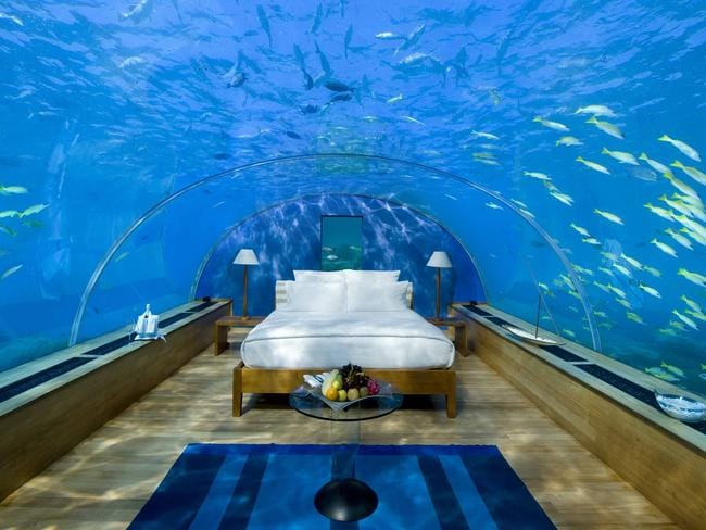 "The undersea restaurant at Conrad Maldives Rangali Island can also be used to host wedding ceremonies and may even be transformed into a private bedroom suite. Picture:  <a href=""http://conradhotels3.hilton.com/en/hotels/maldives/conrad-maldives-rangali-island-MLEHICI/index.html"" target=""_blank"">Conrad Maldives Rangali Island</a>"