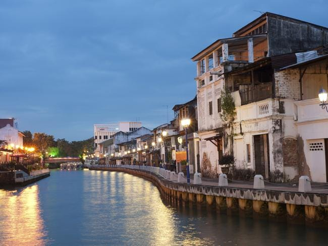 The serene night scene in Malacca. Picture: Supplied